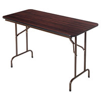Alera ALEFT724824WA 24 inch x 48 inch Walnut Melamine Top Folding Table
