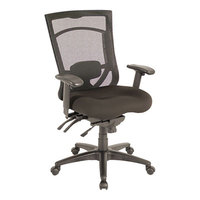 Alera ALEEX4114 EX Series Black High-Back Multifunction Mesh Office Chair with Adjustable Arms and Black Swivel Nylon Base