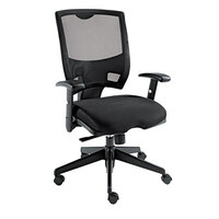 Alera ALEEP42ME10B Epoch Mid-Back Black Multifunction Mesh Office Chair with Adjustable Arms and Black Swivel Nylon Base