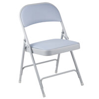 Alera ALEFC97G Light Gray Steel Folding Chair with Light Gray Fabric Back and Seat - 4/Case