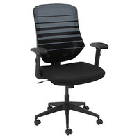 Alera ALEEM4224 Embre Black / Blue Mid-Back Mesh Office Chair with Adjustable Arms and Black Swivel Nylon Base