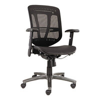 Alera ALEEN4218 Eon Black Mid-Back Multifunction Suspension Mesh Office Chair with Adjustable Arms and Graphite Swivel Nylon Base
