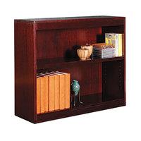 Alera ALEBCS23036MY 36 inch x 30 inch Mahogany Wood Veneer 2-Shelf Square Corner Bookcase