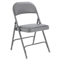 Alera ALEFC96G Light Gray Steel Folding Chair with Light Gray Padded Vinyl Back and Seat - 4/Case