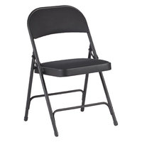 Alera ALEFC97B Graphite Steel Folding Chair with Black Fabric Back and Seat - 4/Case