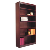 Alera ALEBCS67236MY 36 inch x 72 inch Mahogany Wood Veneer 6-Shelf Square Corner Bookcase