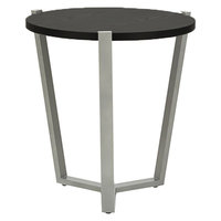 Alera ALECT7721B 21 1/4 inch Round Silver Corner Table with Black Laminate Top