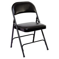 Alera ALEFC96B Graphite Steel Folding Chair with Graphite Padded Vinyl Back and Seat - 4/Case