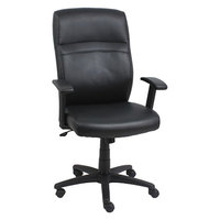 Alera ALECA4119 Black High-Back Leather Office Chair with Adjustable Arms and Black Swivel Nylon Base