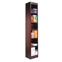 Alera ALEBCS67212MY 12 inch x 72 inch Mahogany Wood Veneer 6-Shelf Narrow Profile Square Corner Bookcase