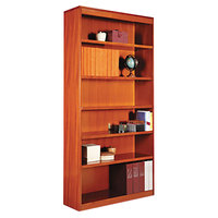 Alera ALEBCS67236MC 36 inch x 72 inch Medium Cherry Wood Veneer 6-Shelf Square Corner Bookcase