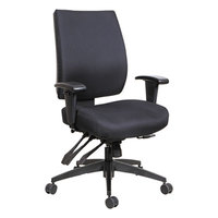 Alera ALEHPM4201 Wrigley Mid-Back Multifunction Black Fabric Office Chair with Adjustable Arms and Black Swivel Nylon Base