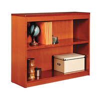 Alera ALEBCS23036MC 36 inch x 30 inch Medium Cherry Wood Veneer 2-Shelf Square Corner Bookcase