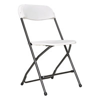 Alera ALEFR9502 Black Anthracite Economy Folding Chair with White Molded Resin Back and Seat - 4/Case