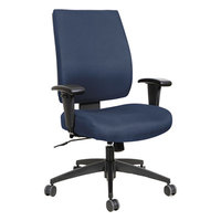 Alera ALEHPS4202 Wrigley Mid-Back Multifunction Blue Fabric Office Chair with Adjustable Arms, Synchro-Tilt, and Black Swivel Nylon Base
