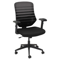 Alera ALEEM4254 Embre Black / Taupe Mid-Back Mesh Office Chair with Adjustable Arms and Black Swivel Nylon Base