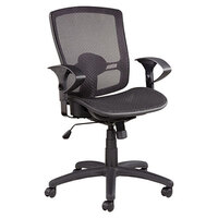 Alera ALEET4218 Etros Black Mid-Back Suspension Mesh Office Chair with Adjustable Arms and Black Swivel Nylon Base