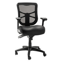 Alera ALEEL4215 Elusion Black Mid-Back Multifunction Mesh Office Chair with Adjustable Arms and Black Swivel Nylon Base