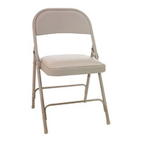 Alera ALEFCPC5T Tan Folding Chair with Padded Vinyl Seat   - 4/Case