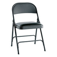 Alera ALEFC94VY10B Graphite Folding Chair with Padded Vinyl Seat - 4/Case