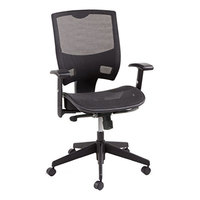 Alera ALEEP4218 Epoch Black Mid-Back Multifunction Suspension Mesh Office Chair with Adjustable Arms and Graphite Swivel Nylon Base