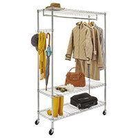 Alera ALEGR364818SR 48 inch x 18 inch x 75 inch Silver Wire Shelving Garment Rack with Casters