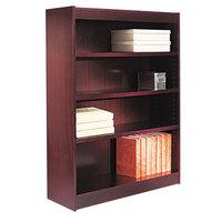 Alera ALEBCS44836MY 36 inch x 48 inch Mahogany Wood Veneer 4-Shelf Square Corner Bookcase