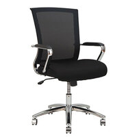 Alera ALEENR4218 ENR Mid-Back Black Mesh Office Chair with Fixed Arms and Chrome Swivel Nylon Base