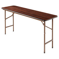Alera ALEFT726018WA 18 inch x 60 inch Walnut Melamine Top Folding Table