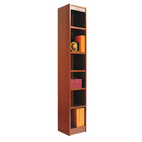 Alera ALEBCS67212MC 12 inch x 72 inch Medium Cherry Wood Veneer 6-Shelf Narrow Profile Square Corner Bookcase