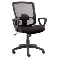 Alera ALEET42ME10B Etros Mid-Back Black Mesh Office Chair with Fixed Arms and Black Swivel Nylon Base