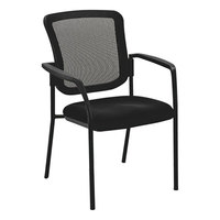Alera ALEEL4314 Black Mesh Stackable Arm Chair with Glides and Casters