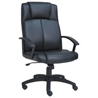 Alera ALECL4119 CL Series Black High-Back Leather Office Chair with Fixed Arms and Black Swivel Nylon Base