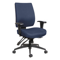 Alera ALEHPM4202 Wrigley Mid-Back Multifunction Blue Fabric Office Chair with Adjustable Arms and Black Swivel Nylon Base