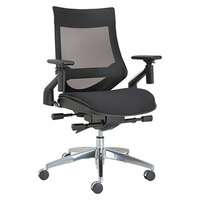 Alera ALEEBW4213 EB-W Black Multifunction Mesh Office Chair with Adjustable Arms and Aluminum Swivel Base
