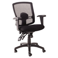 Alera ALEET4017 Etros Black Mid-Back Petite Multifunction Mesh Office Chair with Adjustable Arms and Black Swivel Nylon Base