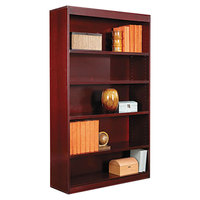 Alera ALEBCS56036MY 36 inch x 60 inch Mahogany Wood Veneer 5-Shelf Square Corner Bookcase