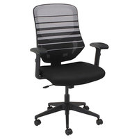 Alera ALEEM4204 Embre Black / White Mid-Back Mesh Office Chair with Adjustable Arms and Black Swivel Nylon Base