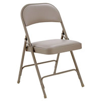 Alera ALEFC96T Tan Steel Folding Chair with Tan Padded Vinyl Back and Seat - 4/Case
