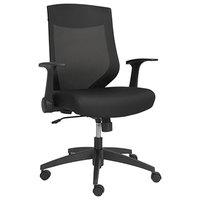 Alera ALEEBK4217 EB-K Mid-Back Black Mesh Office Chair with Adjustable Arms and Black Swivel Nylon Base