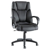 Alera ALEFZ41LS10B Fraze High-Back Black Leather Office Chair with Fixed Arms and Black Swivel Nylon Base