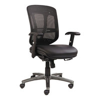 Alera ALEEN4215 Black Mid-Back Multifunction Mesh Office Chair with Adjustable Arms and Graphite / Chrome Swivel Nylon Base
