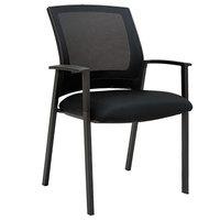 Alera ALEES4314 ES Series Black Mesh Stackable Arm Chair - 2/Case