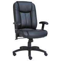 Alera ALECC4119 CC Series Black High-Back Leather Office Chair with Adjustable Arms and Black Swivel Nylon Base