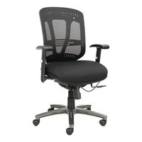 Alera ALEEN4217 Eon Black Mid-Back Multifunction Mesh Office Chair with Adjustable Arms and Graphite Swivel Nylon Base
