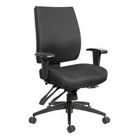 Alera ALEHPT4201 Wrigley 24/7 Mid-Back Multifunction Black Fabric Office Chair with Adjustable Arms and Black Swivel Nylon Base