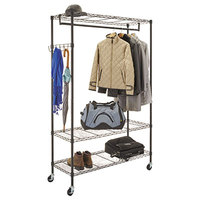 Alera ALEGR364818BL 48 inch x 18 inch x 75 inch Black Wire Shelving Garment Rack with Casters