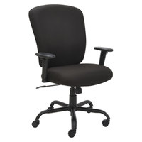 Alera ALEMT4510 Mota Black Big & Tall Fabric Office Chair with Adjustable Arms and Black Steel Base