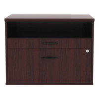 Alera ALELS583020MY Open Office Mahogany Low File Cabinet / Credenza - 29 1/2 inch x 19 1/8 inch x 22 7/8 inch
