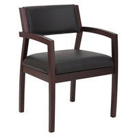 Alera ALERL5319M Reception 500 Series Half Back Black Leather Arm Chair with Mahogany Solid Wood Frame